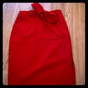 Banana Republic Red Pencil Skirt with bow